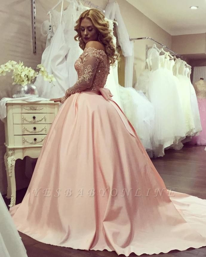 Off-the-Shoulder Long-Sleeves Gold-Lace Ball-Gown Bowknot Prom Dresses BA4764