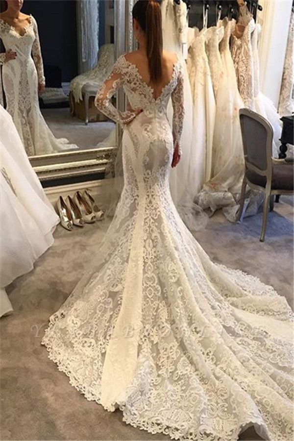 V-Neck Long Sleeves Ruffles Train Lace Mermaid Wedding Dress