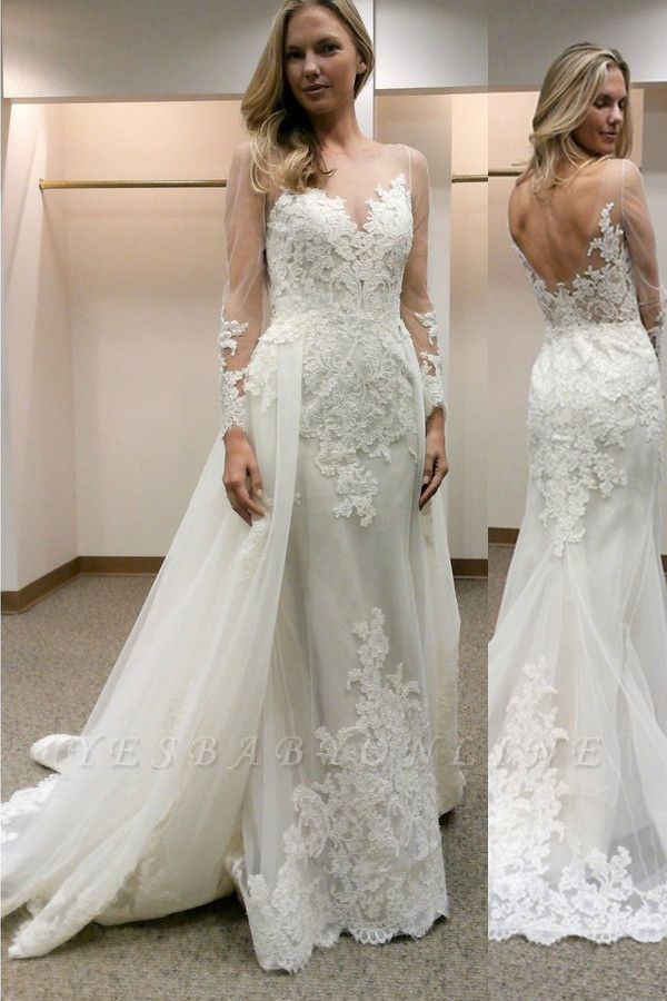 Open-Back Tulle Simple Column Appliques Long Sleevess Wedding Dress