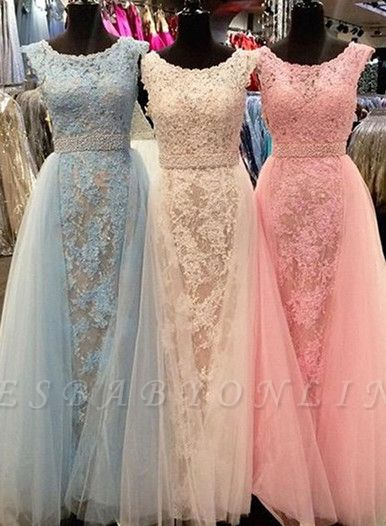Elegant Lace Prom Dresses Scoop Neck with Overskirts Beading Belt Wedding Guest Dresses