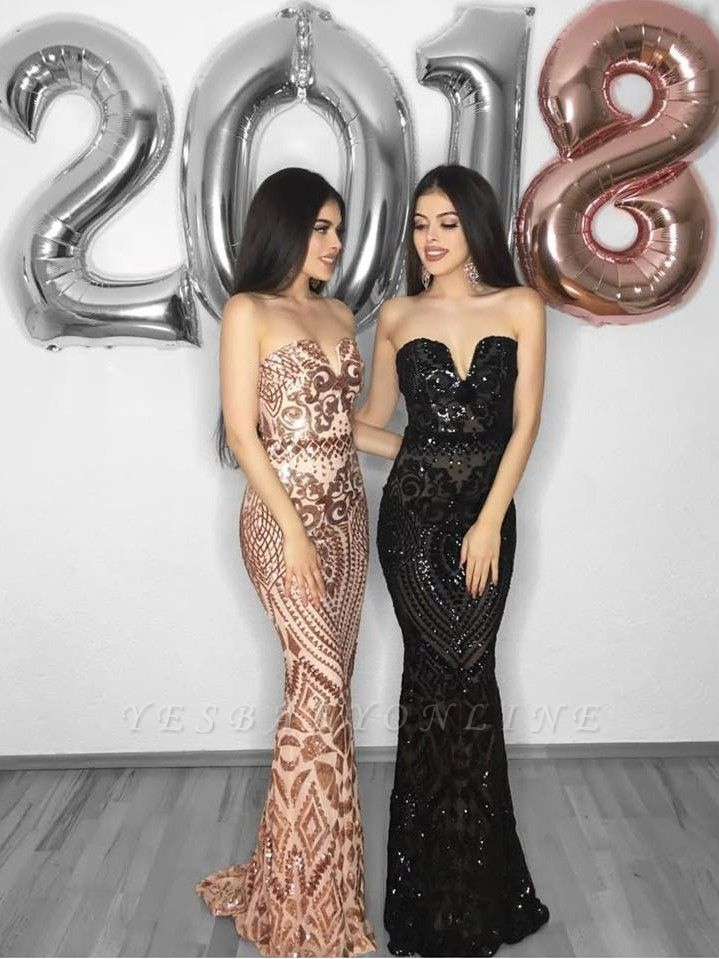 Shiny Mermaid V-Neck Sleeveless Prom Dress with Appliques