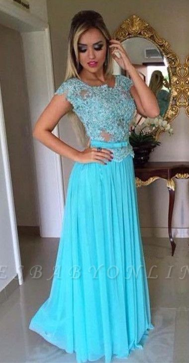 Scoop Appliques Short-Sleeves A-Line  Prom Dress