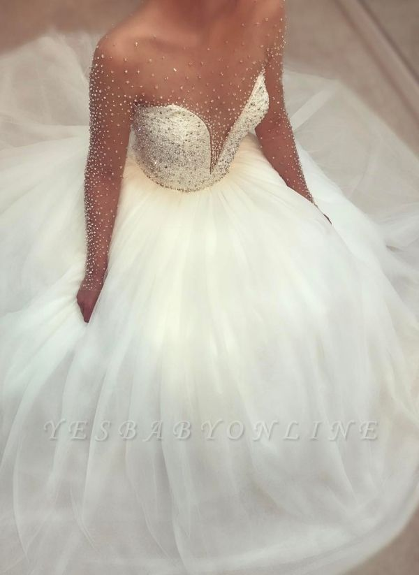 Princess Ball Gown Beaded Bridal Gowns  | Long Sleeves Crystals Wedding Dresses