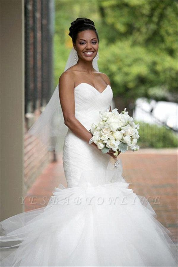 Glamorous Tulle Sweetheart Mermaid Sheath Flowers Ruffles Wedding Dresses