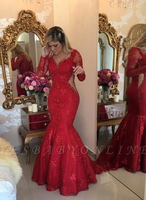 Luxury Mermaid Lace Evening Dresses | V-Neck Long Sleeves See Through Prom Dresses