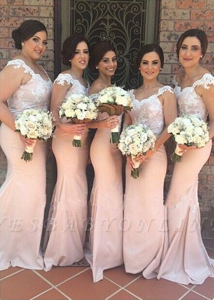 Blushing Pink Mermaid Bridesmaid Dresses Off-the-Shoulder Maid of the Honor Dress