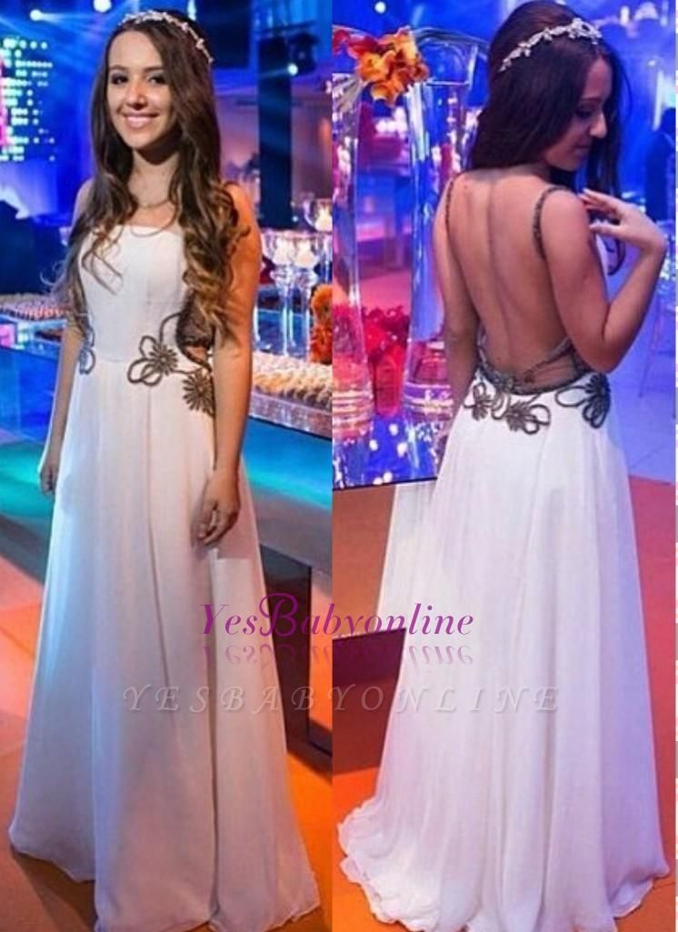 A-line Chic White Backless Floor-length Evening Dress