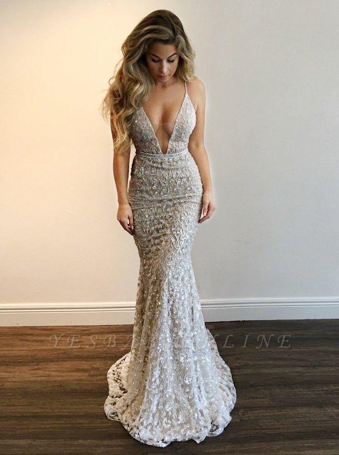 A-line V-Neck Prom Dresses   Spaghetti-Straps Sleeveless Beading Evening Gowns
