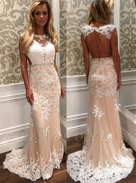 Crystal Open-Back  Gorgeous Long Lace Prom Dress