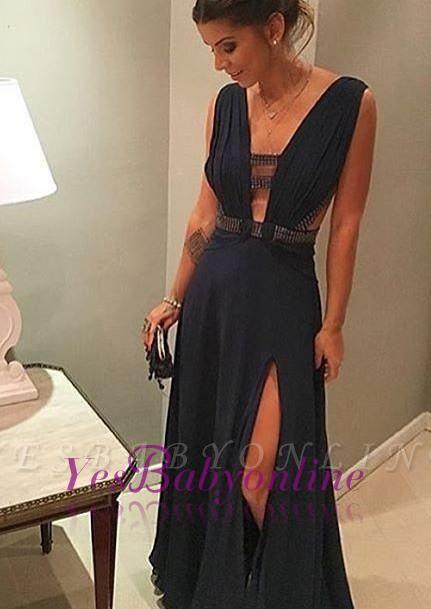 Dark-Navy Beading Split-Front Floor-length Chiffon Deep-v-neck Evening Dress