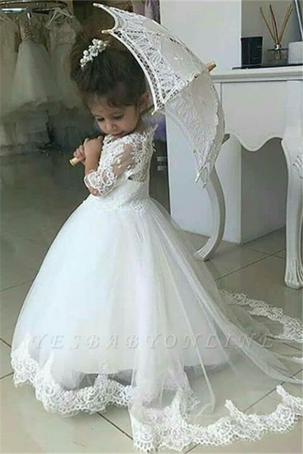 Sweet Half Sleeves Lace Flower Girl Dresses | Tulle Ball Gown Wedding Party Dresses