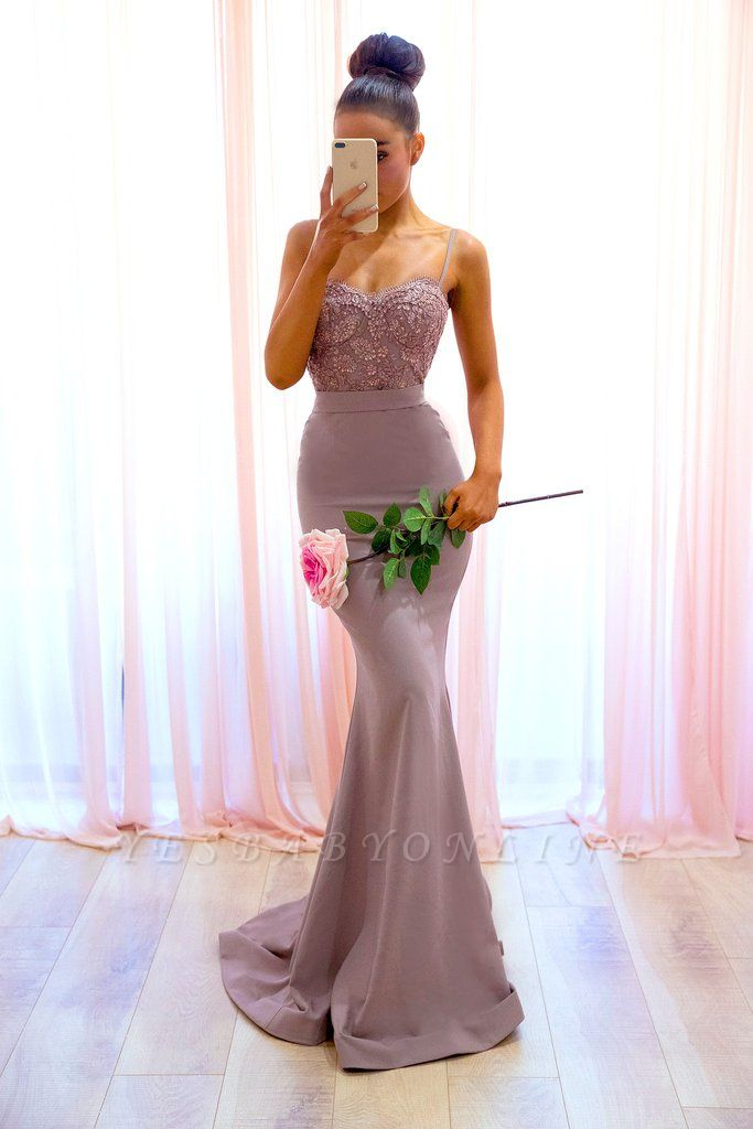 Sexy Sleeveless Mermaid Spaghetti-Straps Lace Evening Dress