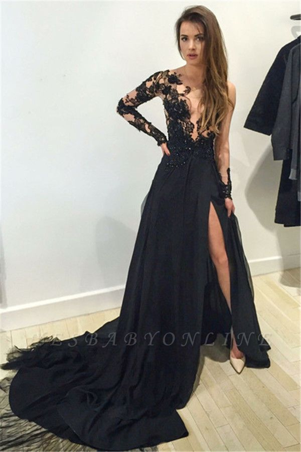 Black A-line Front Slit Long Sleeves Sexy Lace Prom Dresses