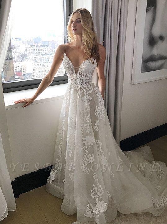 Straps A-line Spaghetti Tulle Lace-Applique Glamorous Wedding Dresses