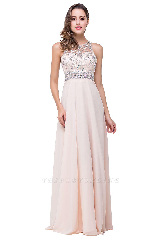 A-Line New Scoop Floor-Length Crystal Sleeveless Prom Dress