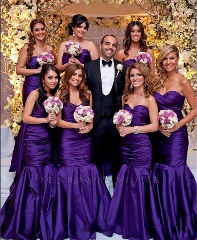 Modern Long Mermaid Purple Sweetheart Bridesmaid Dresses