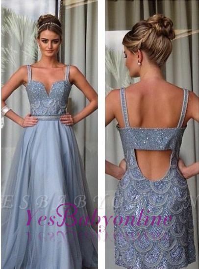Beading Straps A-line Open-Back Detachable Evening Dress