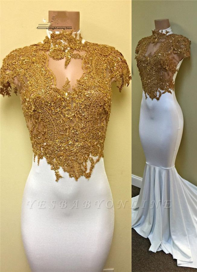 Gold and White Prom Dresses High Neck Lace Appliques Capped Sleeves Mermaid Evening Gowns