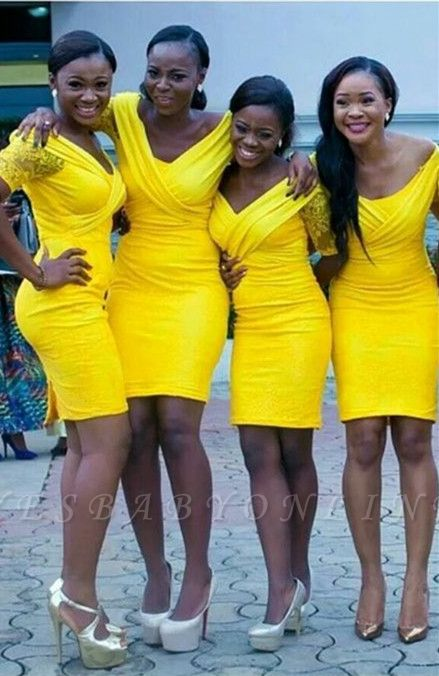 Lace Bodycon Yellow Sexy Off-the-shoulder Mini Bridesmaid Dress