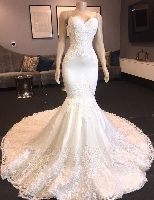 Strapless Sweetheart Mermaid Lace Wedding Dresses with Beads