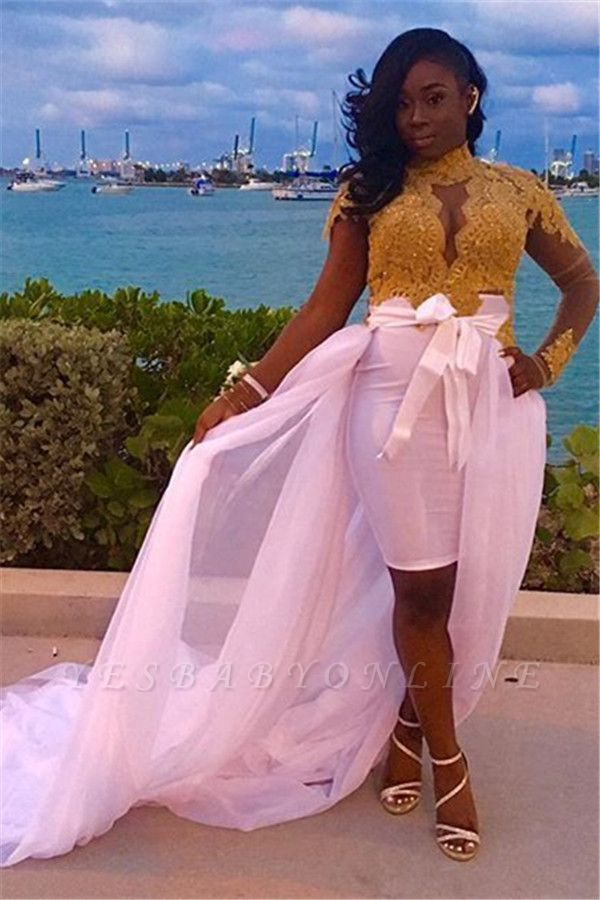 Long-Sleeves High-Neck Lace Detachable-Skirt Glamorous Gold Evening Dresses