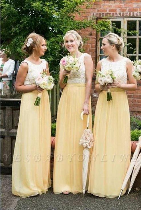 Sleeveless Chiffon Jewel Lace A-line Elegant Bridesmaid Dress