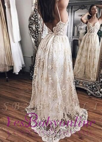 Lace Backless Newest Floor-Length Champagne Hot Evening Dress