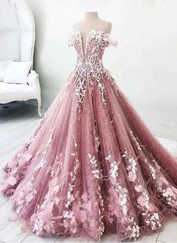 Fairytale Floral Puffy Prom Dresses | Off-The-Shoulder Lace Appliques Quinceanera Dresses