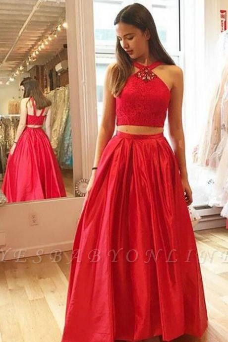Glamorous A-Line Halter Red Crystal Two-Pieces Prom Dresses