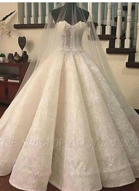 Lace Ruffles Sweetheart Ball-Gown Wedding Dresses | Fashionable Bridal Gowns