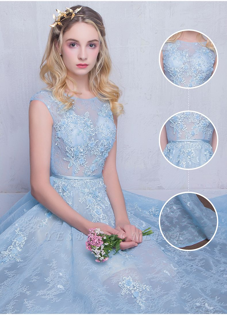 Fairy Sky-Blue Puffy Sheer Long Lace-Appliques A-line Prom Dresses