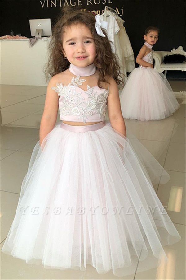 Two-Pieces Pink Flower Tulle Appliques Lovely Sweetheart Girl Dresses