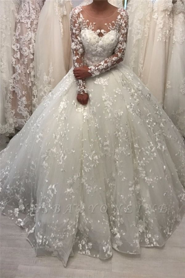 Round Neck Lace Ball Gown Vintage Wedding Dresses with Long Sleeves