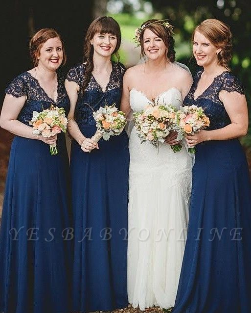 Romance Long Blue Lace Chiffon Navy Bridesmaid Dresses