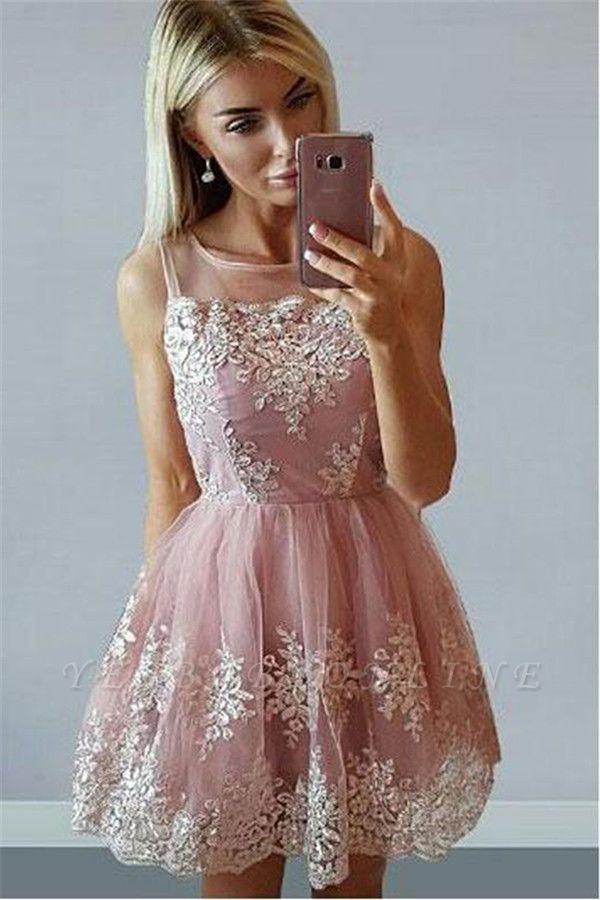 Short Pink Sleeveless Homecoming Dresses | 2019 Sleeveless Homecoming Dresses Cheap