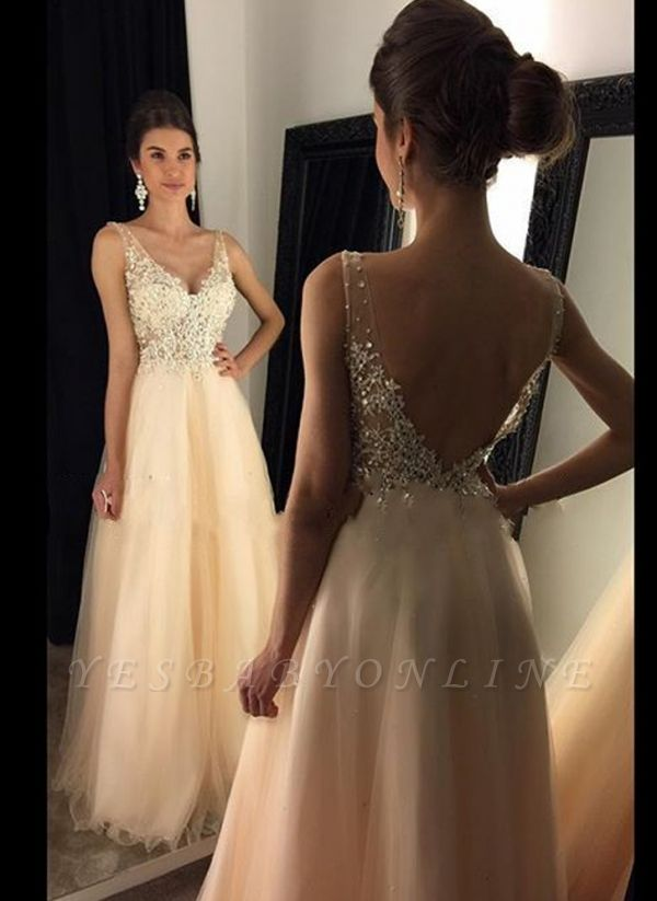 A-line Open-Back V-Neck Beaded Long Lace Champagne Prom Dresses