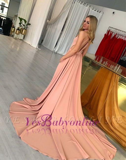 A-line Simple Halter Sleeveless Pink Sweep-trian Evening Dress