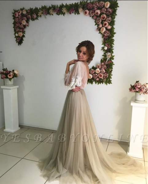 Romantic Long Sleeves Evening Gowns | Flowers Long Formal Dresses