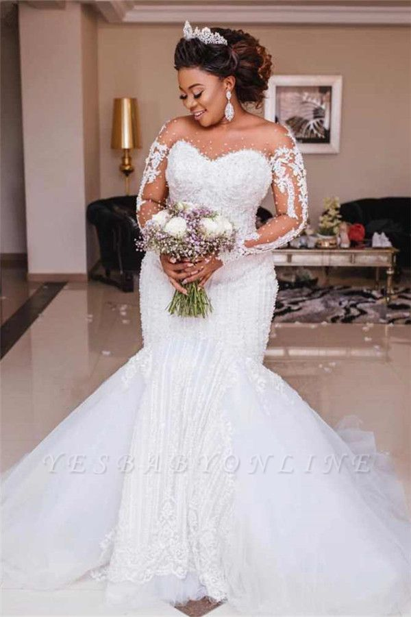 Plus Size Jewel Long Sleeve Backless Applique Pearls Mermaid Fit And Flare Wedding Dresses