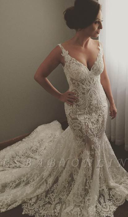 V-neck Sleeveless Sexy Mermaid Wedding Dresses | Lace Appliques Bridal Dress WE0196