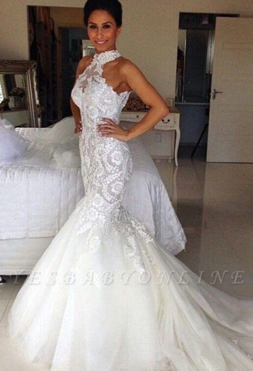 Long Sleeveless Halter Applique Sexy Mermaid Tulle Wedding Dresses