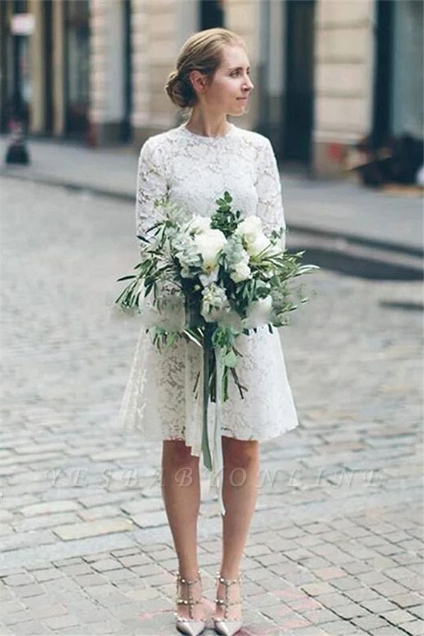 Jewel Short Casual Lace Wedding Dresses with Long Sleeves for Beach and Barn Wedding