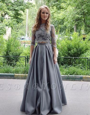 Long Gray Two-Pieces Elegant Hlaf-sleeves Floor-length Lace Scoop Prom Dress