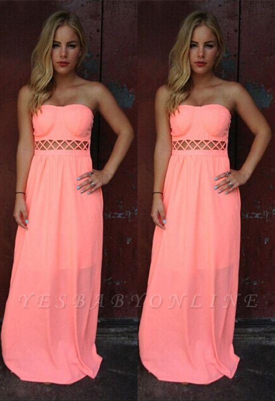 Floor-length Sleeveless Simple Strapless A-line Prom Dress