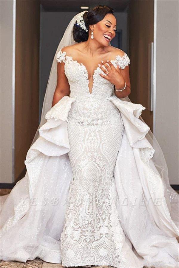 Gorgeous Off the Shoulder Lace Wedding Dresses With Detachable Train