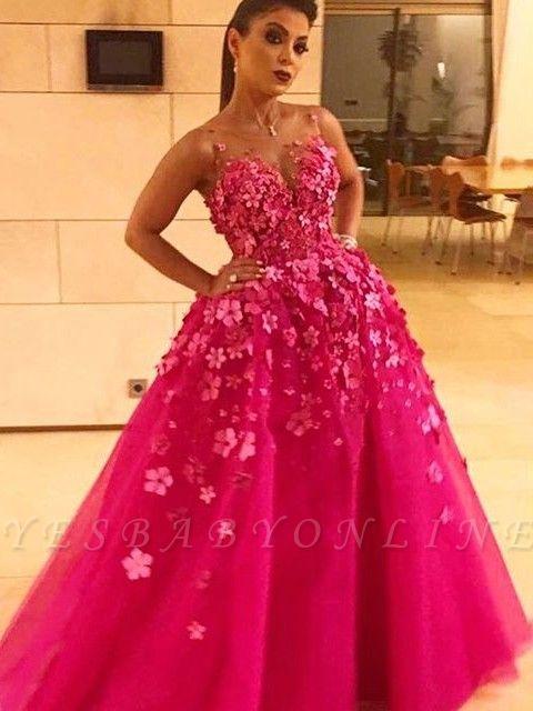 prom long dresses fuchsia princess Flower prom dresses
