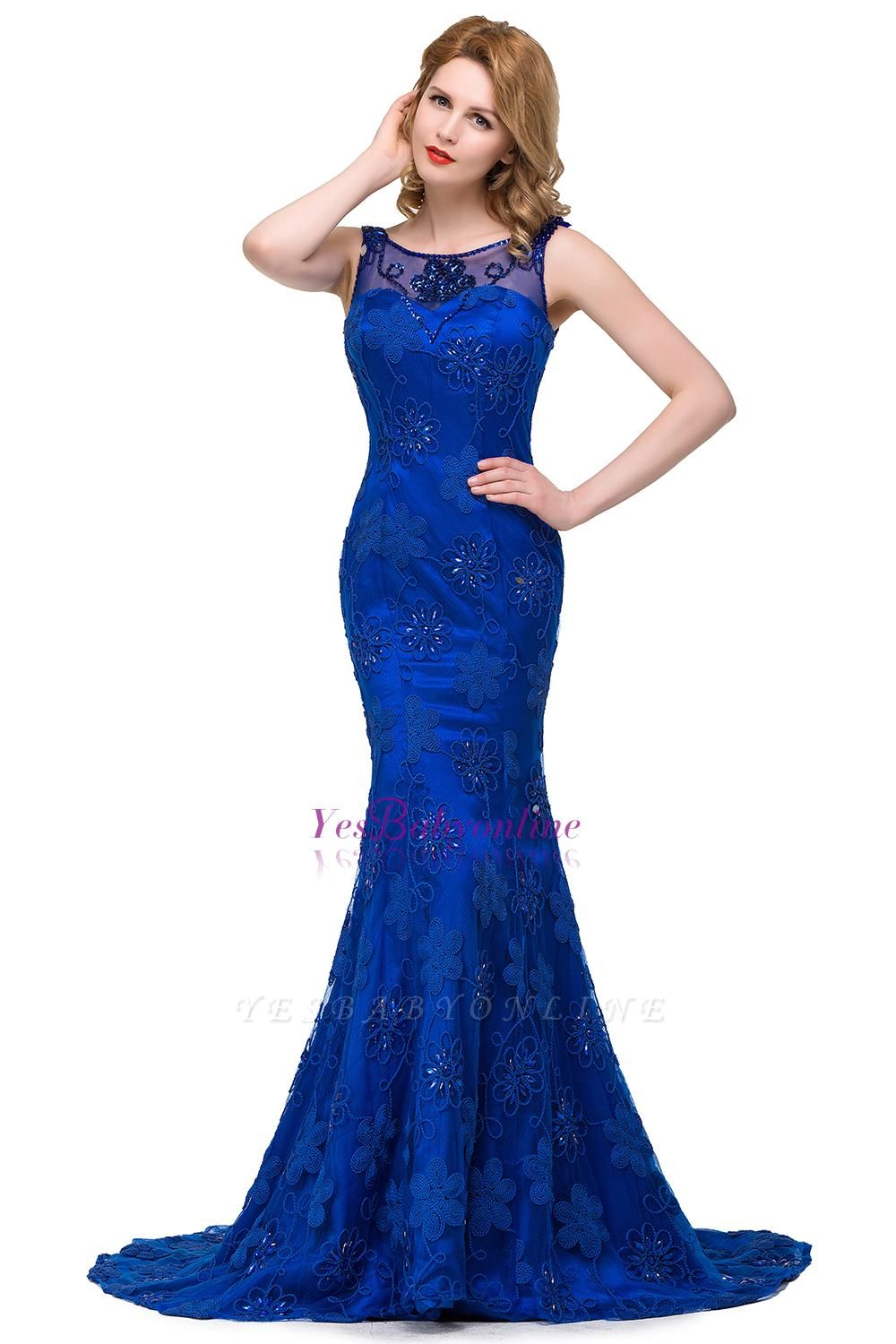 Crystal Mermaid Appliques Sleeveless  Royal-Blue Prom Dress