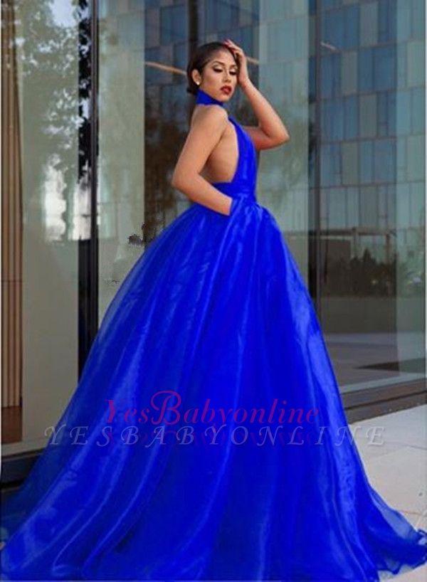 Luxurious Royal-Blue Prom Dresses |  High-Neck Evening Dresses