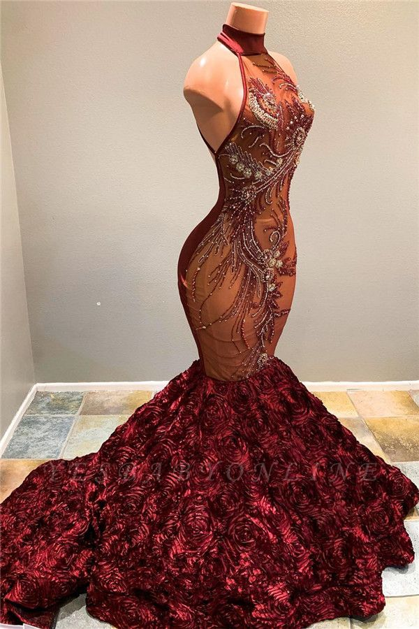 Halter Mermaid Burgundy Prom Dresses with Flowers Train