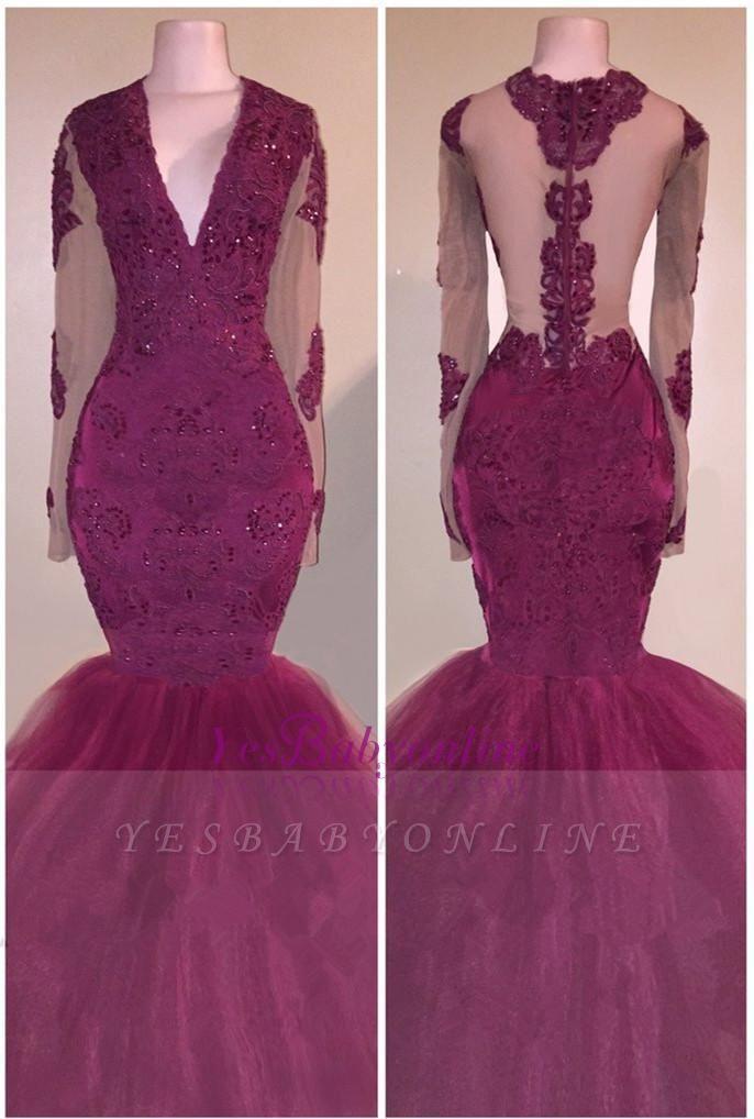 V-Neck Appliques Beaded Tulle Burgundy Long-Sleeves Mermaid Prom Dress